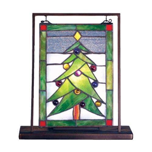 Meyda Tiffany Christmas Tree Lighted Mini Tabletop Window 9'' H Table Lamp