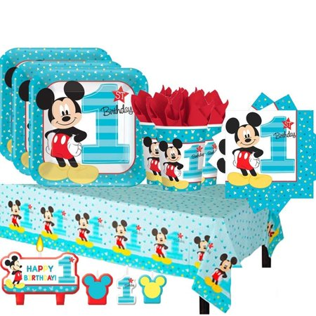 Deluxe Birthday Care Package - Mickey Mouse First Birthday Deluxe Kit for 16 Guests