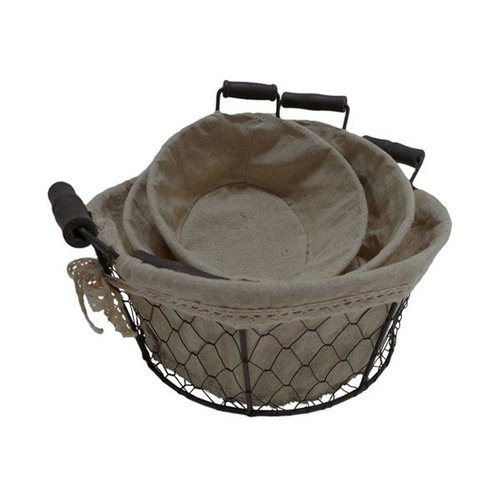 Cheungs Cheungs FP-3370-3RD Round Lined Wire Decorative Baskets With 2 Ears (Set of 3)