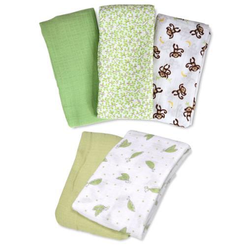 Summer Infant SwaddleMe Muslin Blanket, 5 Pack, Green