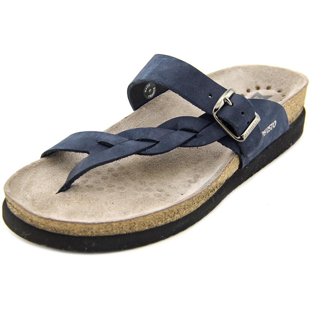 Mephisto Helen Twist Women  Open Toe Leather Blue Thong Sandal