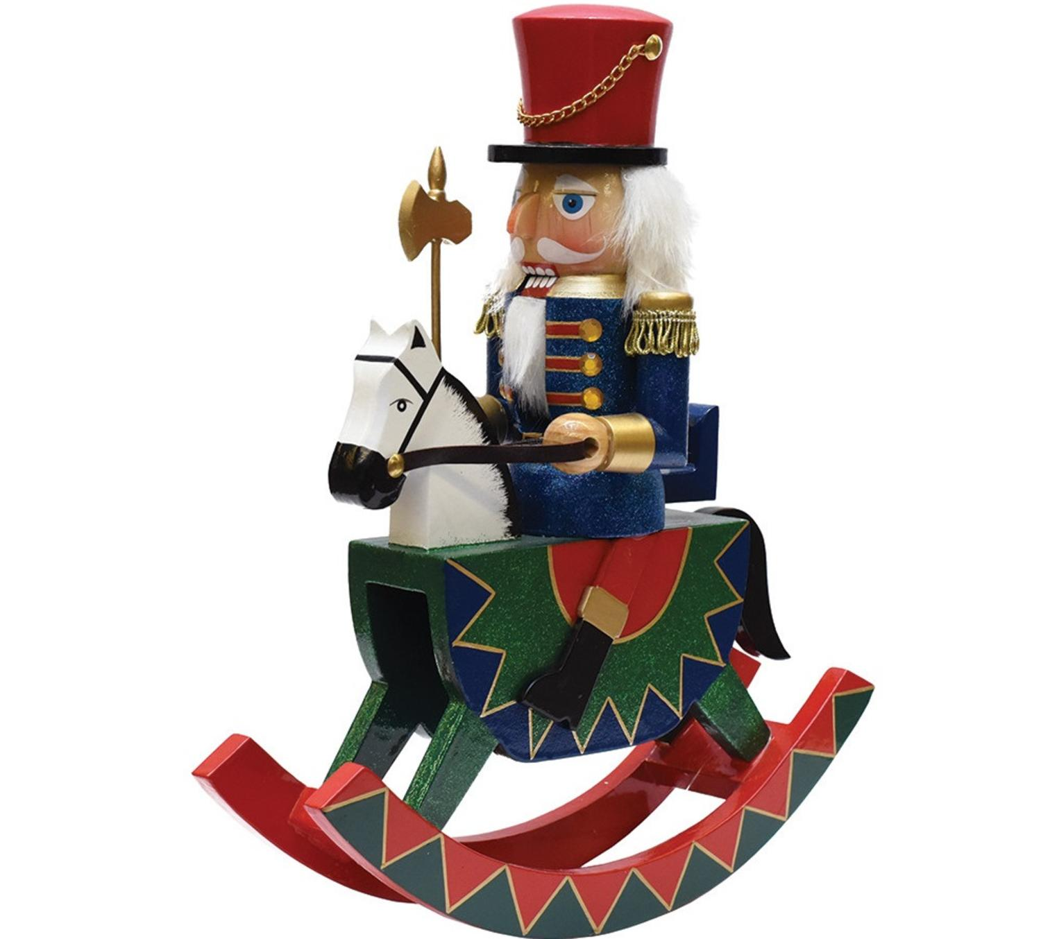 "12"" Decorative Wooden Green Red and Blue Christmas Nutcracker Soldier on Rocking Horse"