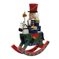 product image 12 decorative wooden green red and blue christmas nutcracker soldier on rocking horse