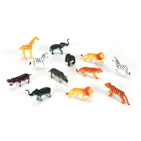 Plastic Jungle Animals - 2 inches - 12 pieces - Jungle Animal Toys