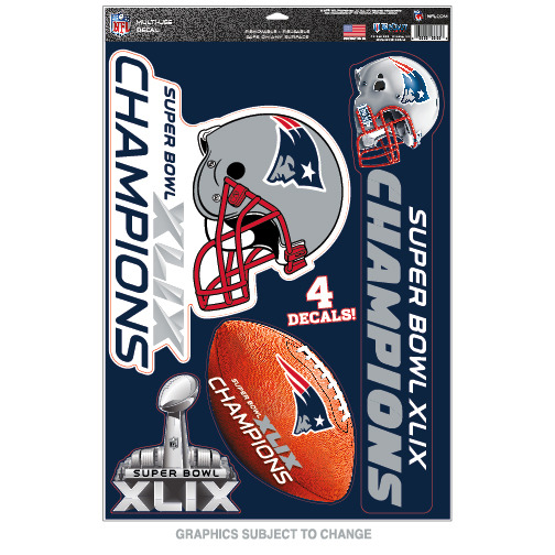 New England Patriots Official NFL 11 inch x 17 inch  Super Bowl 49 Champions MultiUse Car Decal Sheet by WinCraft