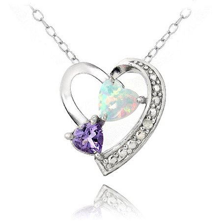 Diamond Accent Amethyst and Created White Opal Sterling Silver Triple Heart Necklace, 18""