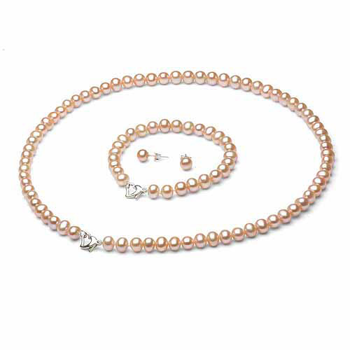 """8-9mm Pink Freshwater Pearl Heart-Shape Sterling Silver Necklace (18""""), Bracelet (7"""") Set with Bonus Pearl... by Jacqueline's Collection"""