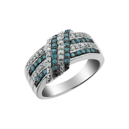 White and Blue Diamond Ring 1/2 Carat (ctw) in Sterling Silver - image 2 de 2