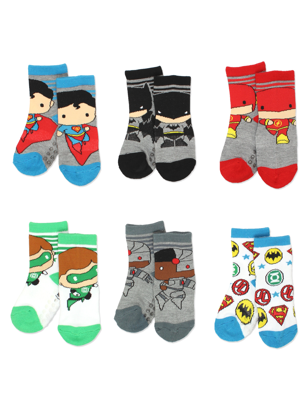 Justice League Boy's 6 pack Socks with Grippers (Baby/Toddler) JL1420