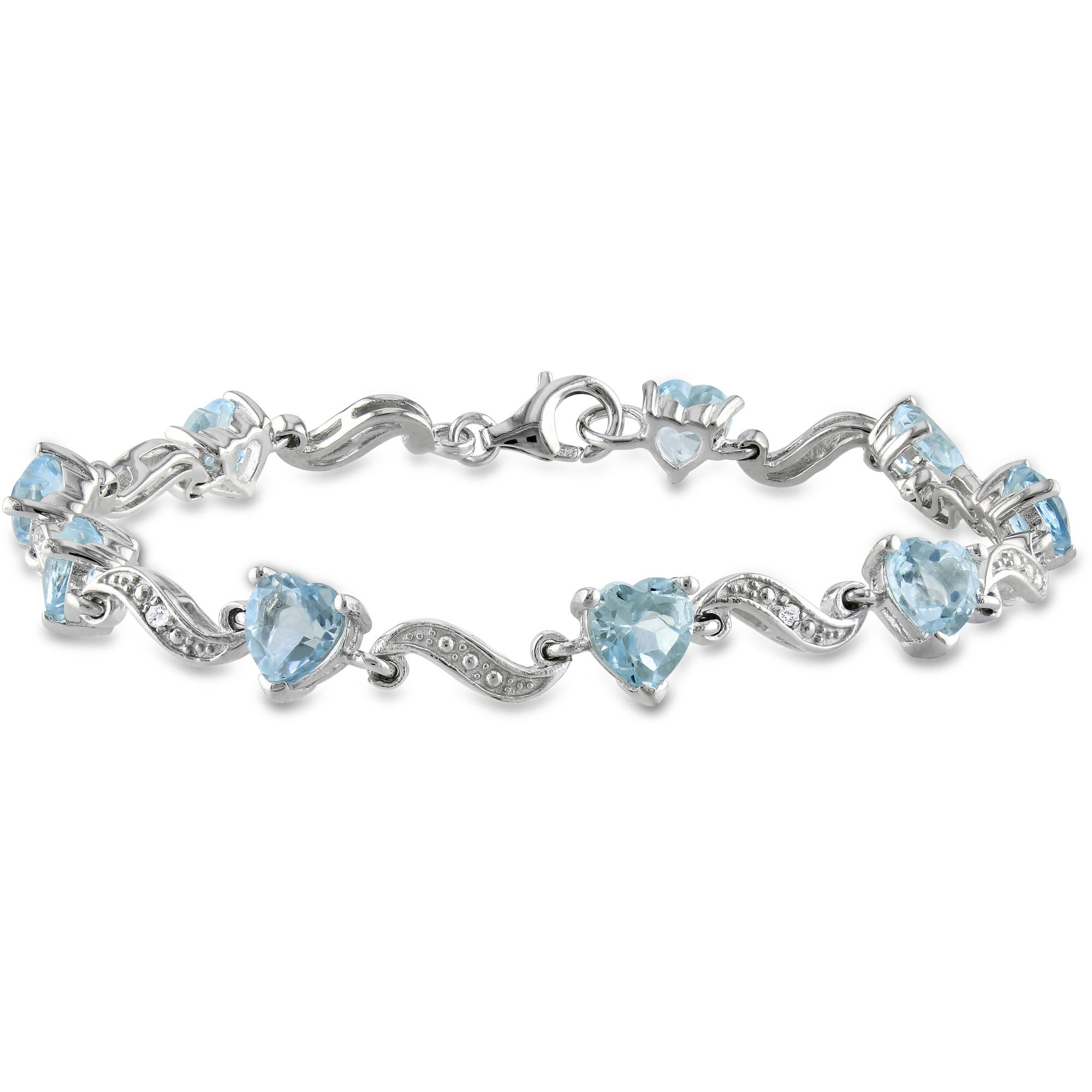 8-2/5 Carat T.G.W. Blue Topaz and Diamond-Accent Sterling Silver Heart Bracelet, 7