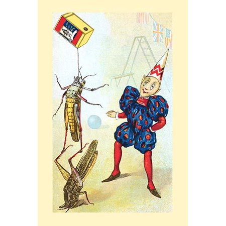 Two grasshoppers balance on top of each other while holding a box above in a circus performance Poster Print by