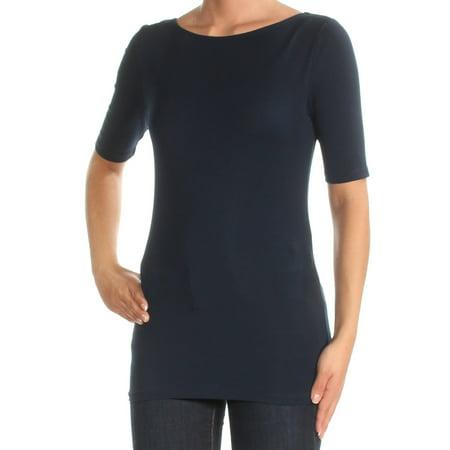 RALPH LAUREN Womens Navy Short Sleeve Boat Neck Top Size: XS