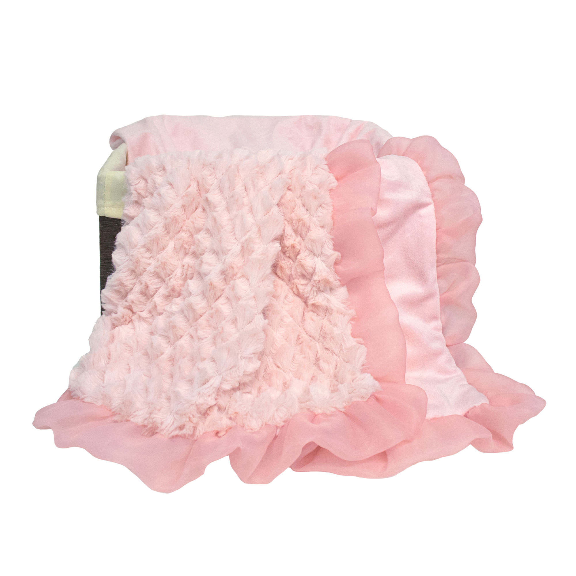 The Peanut Shell Baby Girl Blanket - Pink Sherpa - Arianna Plush Blanket