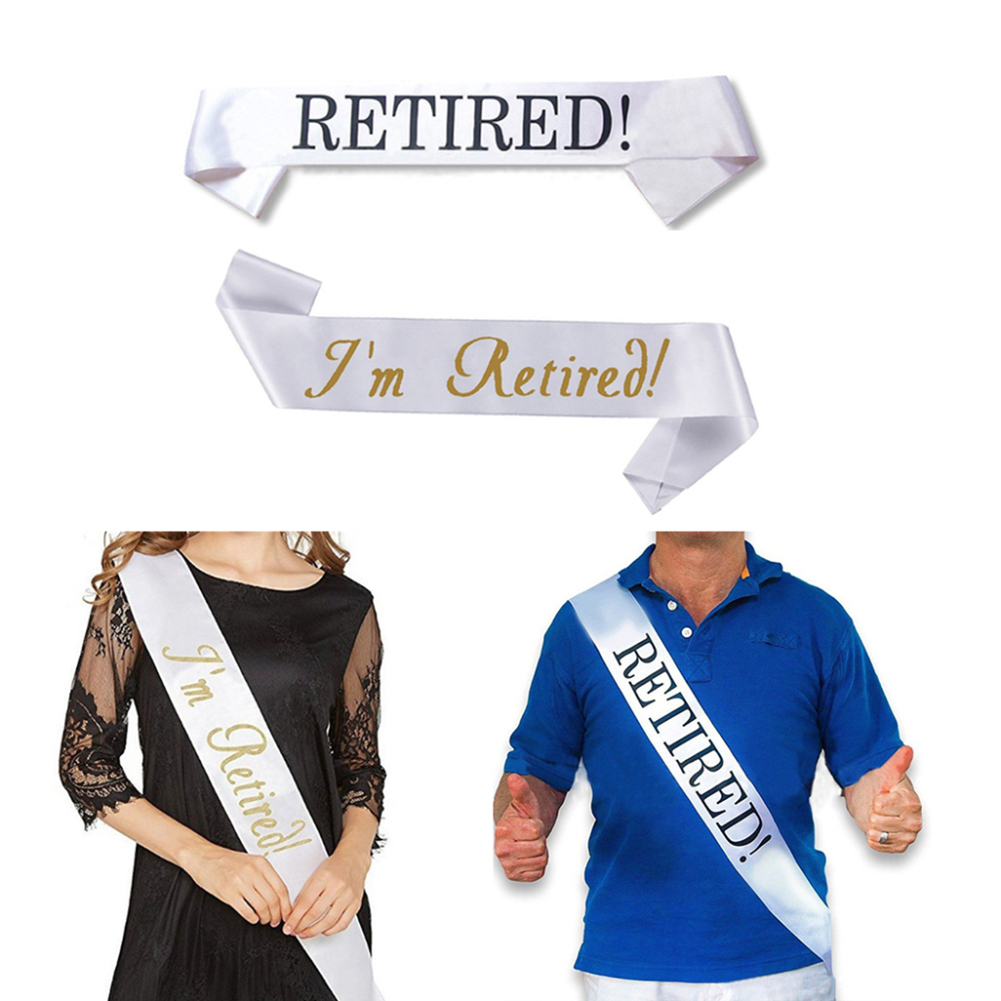 Girl12Queen Retired Letter White Satin Sash Retirement Party Supplies Sign Decoration Gift