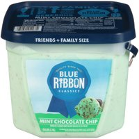 Blue Ribbon Classics Mint Chocolate Chip Reduced Fat Ice Cream Pail , 128 fl oz