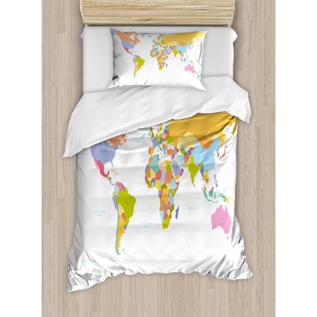 Map Duvet Cover Set, Highly Detailed Political Map of the World ...