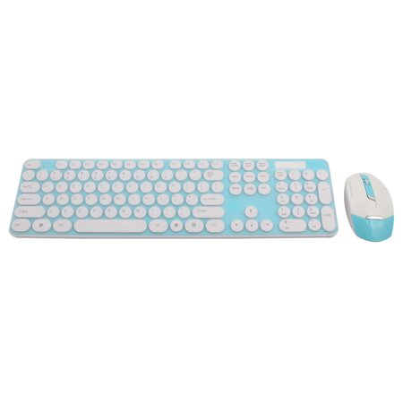 PC Round Button 2.4G Optical  Keyboard Mouse Keypad Film Kit Teal Blue