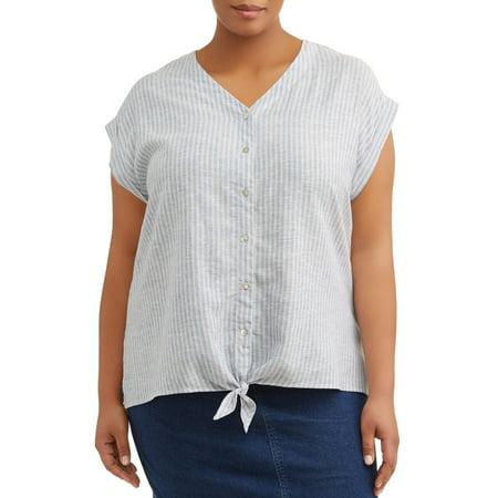 Plus Camp Shirt (Women's Plus Size Short Sleeve Camp Linen Shirt With Front)