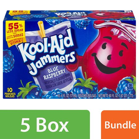 (5 Pack) Kool-Aid Jammers Blue Raspberry Ready-to-Drink Soft Drink, 10 - 6 fl oz