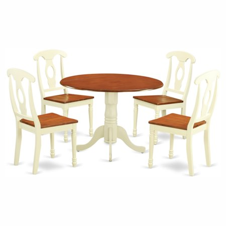 East West Furniture Dublin 5 Piece Dining Table Set with Kenley Wooden Seat Chairs ()