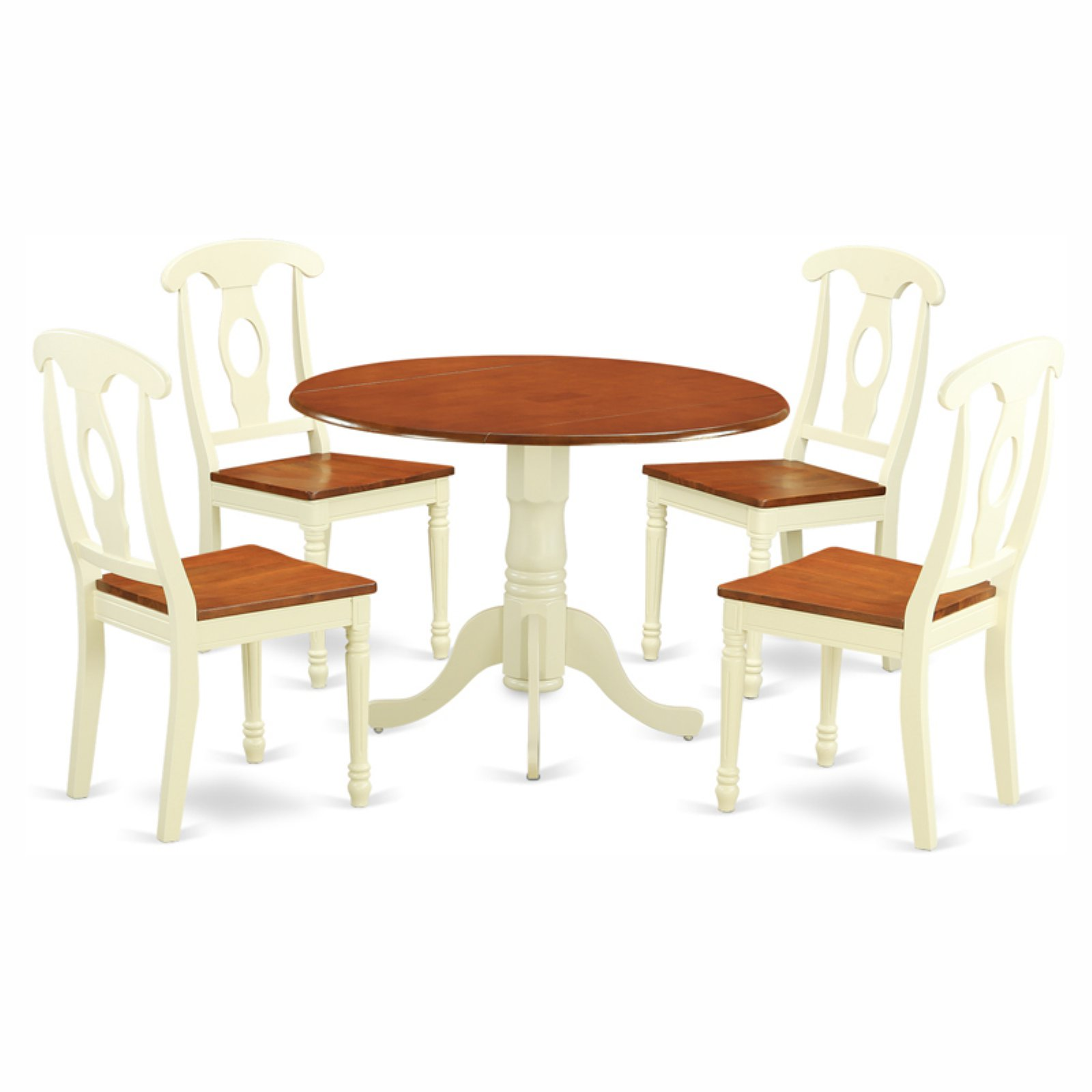 East West Furniture Dublin 5 Piece Dining Table Set with Kenley Wooden Seat Chairs