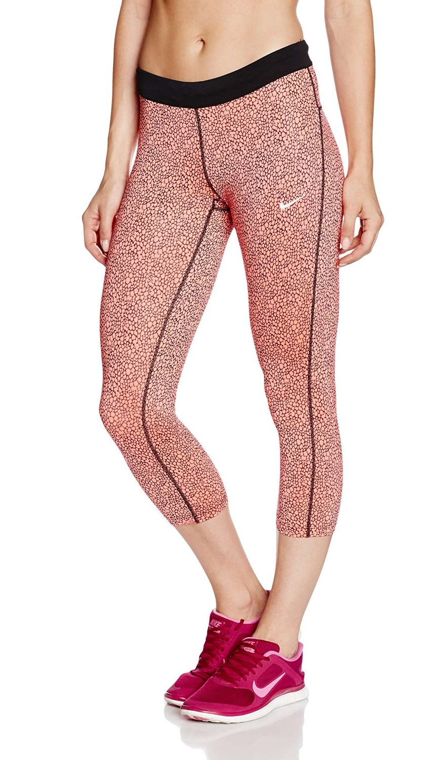 Nike Women's Dri-Fit AOP Relay Crop Running Tights-Coral by Nike