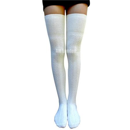 a5205d80954 AM Landen - AM Landen Off-White Thigh-High Knit Socks - Walmart.com