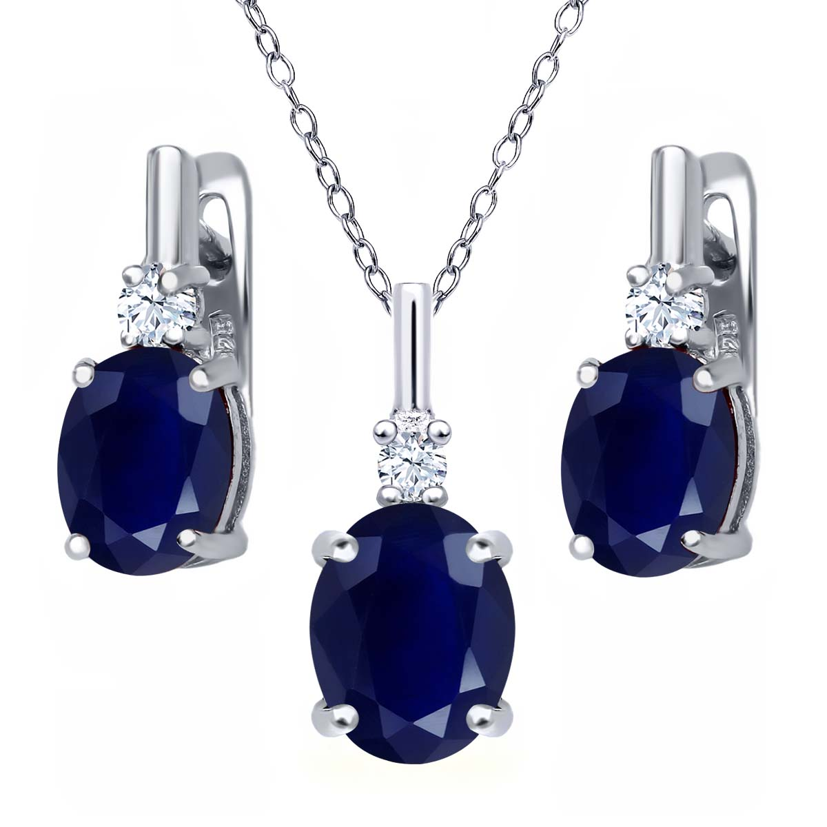 7.58 Ct Oval Blue Sapphire White Topaz 925 Sterling Silver Pendant Earrings Set by