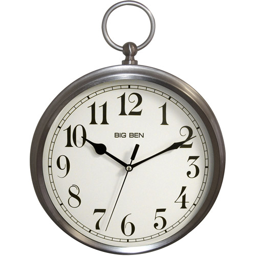 Better Homes and Gardens Pocket Watch Wall Clock, Brushed Nickel