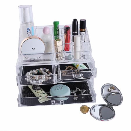 Clearance! Multi-check & 4 Drawers Integrated Acrylic Makeup Case Cosmetics Organizer Transparent Cosmetic Table Organizer Makeup Holder Case Box Jewelry Storage ()