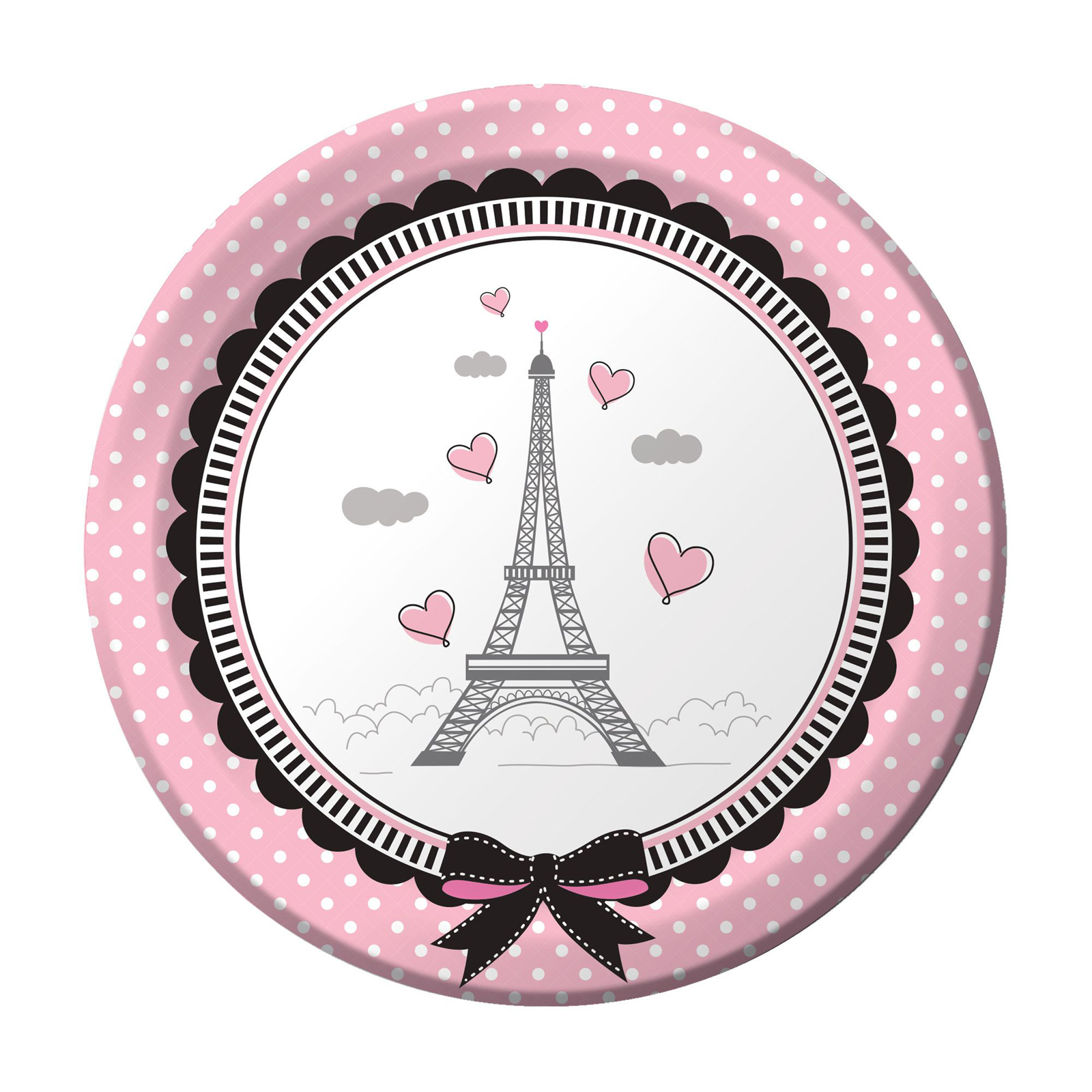 "Party In Paris 7"" Cake Plate (8 Count)"