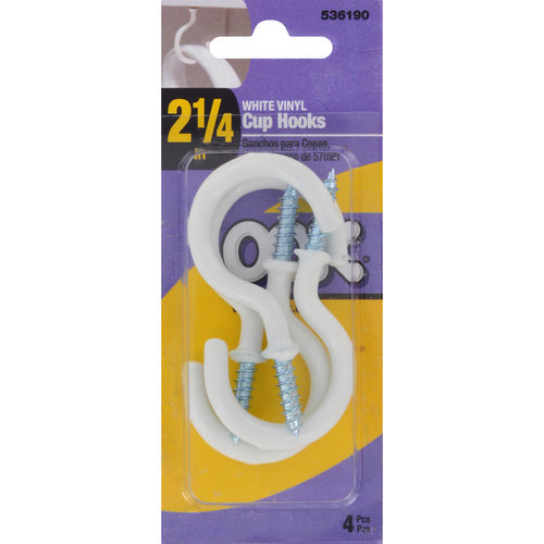 "Ook 2.25"" Cup Hook Wall Hanger, White, 4-Pack"