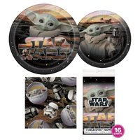 Deluxe Star Wars The Mandalorian Birthday Party Tableware Kit for 16 Guests - Baby Yoda Party Supplies