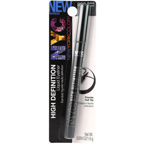 NYC New York Color High Definition Liquid Eyeliner, 889 Extreme Black, 0.056 oz