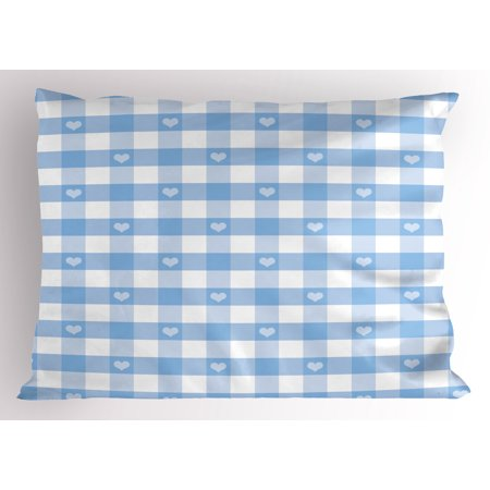 - Checkered Pillow Sham Gingham Motif with Cute Little Hearts Pastel Blue Baby Shower Kids Theme, Decorative Standard Size Printed Pillowcase, 26 X 20 Inches, Pale Blue White, by Ambesonne