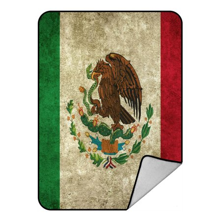 YKCG Mexican Flag Grunge Vintage Style Home Decor Blanket Crystal Velvet Front and Lambswool Sherpa Fleece Back Throw Blanket 58x80inches