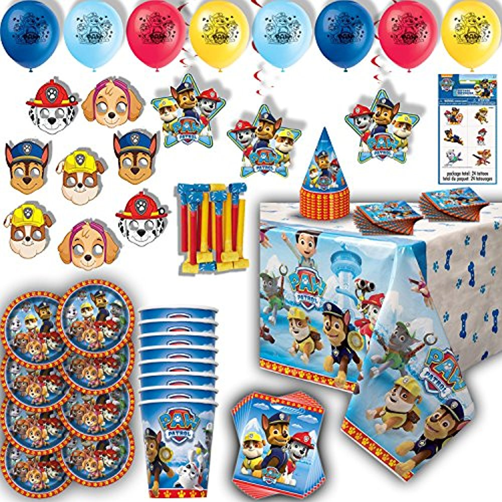 Paw Patroll Party for 8 - Plates, Cups, Napkins, Birthday Hats, Balloons, Masks, Loot Bags, Hanging Decorations, Tattoos, Table Cover