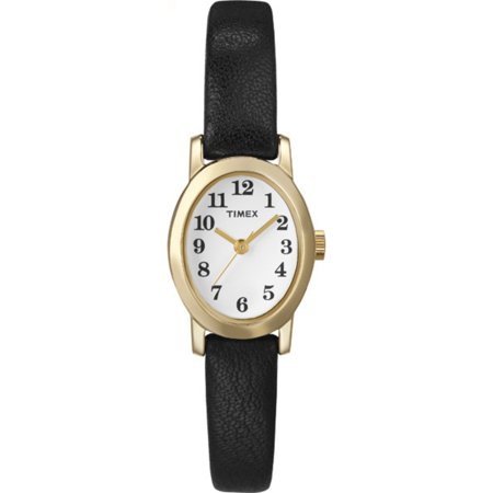 Cavatina by Timex Women's Oval Gold-Tone Case Leather Strap Casual Watch