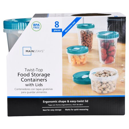 Mainstays Twist-Top Food Storage Containers with Lids, 8 Count