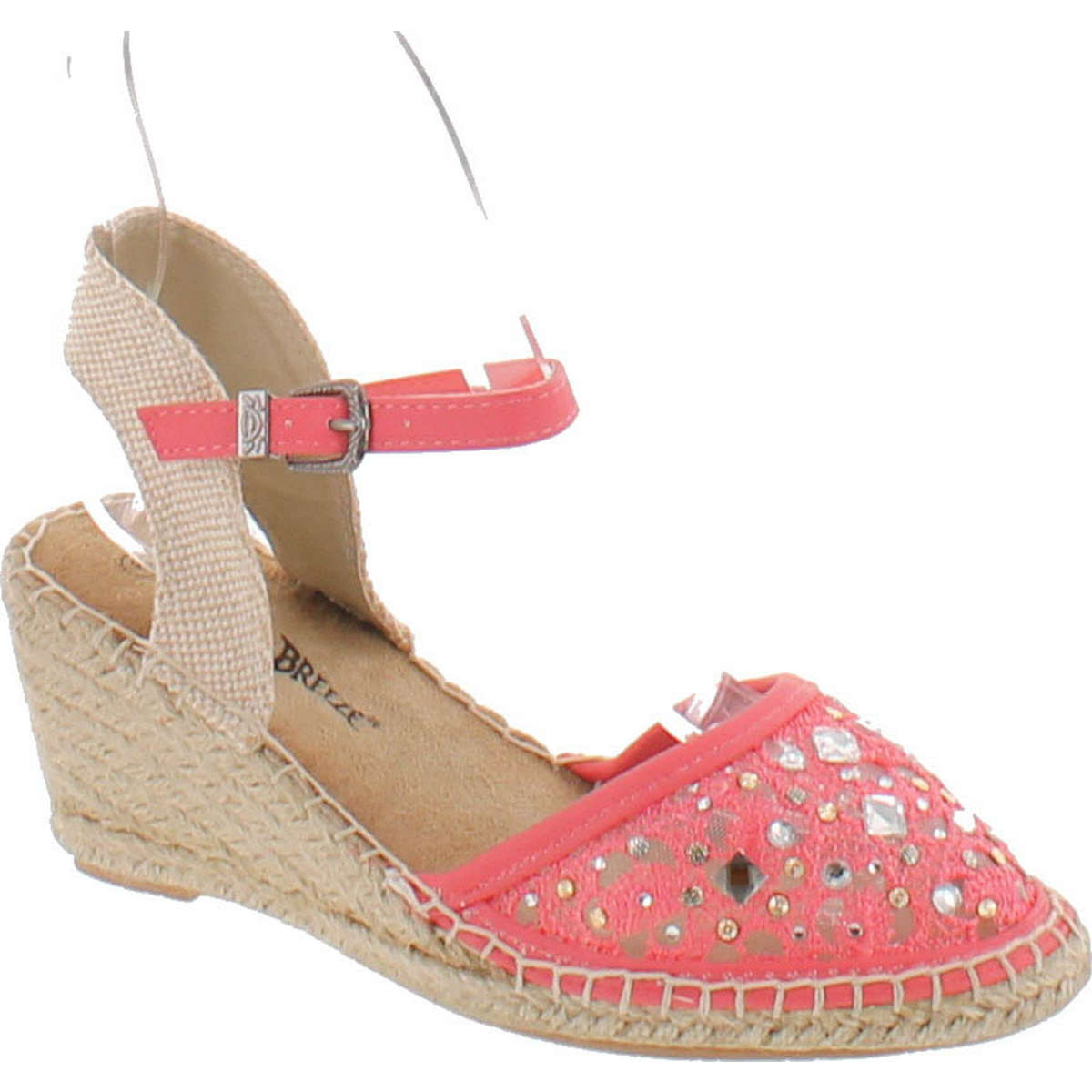 Click here to buy Nature Breeze Nomad-01 Women Lace Jewel Round Toe Espadrille Wedge Sandal Coral by Nature Breeze.