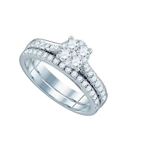1.17Ctw Diamond Bridal Set Womens Fixed Ring Size - 7