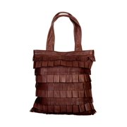Western Handbag Womens Leather Lamb Fringe Magnetic Brown B85