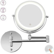Peroptimist LED Lighted 10X Magnifying Mirrors Wall Mounted for Bathroom Double Sided Makeup Mirror, Flexible Gooseneck, 360 Rotation with USB Cable Operated