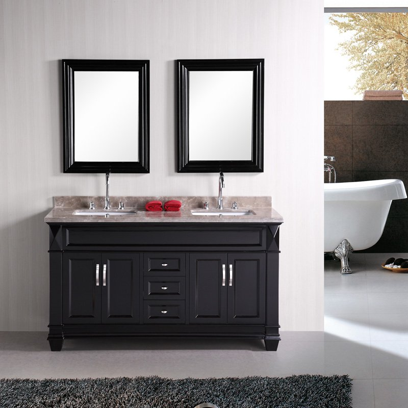 Design Element Hudson Double Under-Mount Sink Vanity Set with Badel Gray Marble Countertop, 60-Inch