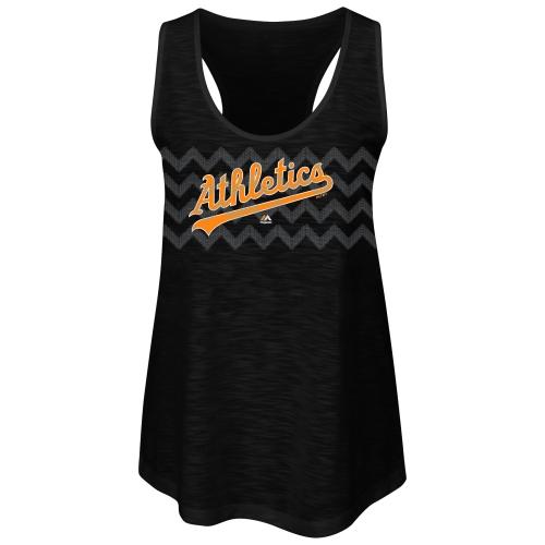 Oakland Athletics Majestic Women's Baseball Dreamer Sequins Tank Top - Black