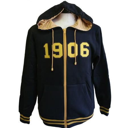 Buffalo Dallas Alpha Phi Alpha 1906 Applique Zip-Up Mens Hoodie [Black - XL]