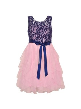 deaea640e1a Product Image Rare Editions Little Girls Lace Navy Pink Cascade Ruffle  Occasion Dress