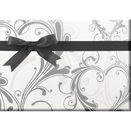 Heart Flourish Wedding Anniversary Specialty Gift Wrapping Paper -15Foot Roll with Gift Labels Anniversary Wedding Gift Wrap