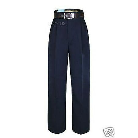 Boy Teen Formal Wedding Party Suit School Uniform Pants in Navy Blue + Belt 4-20