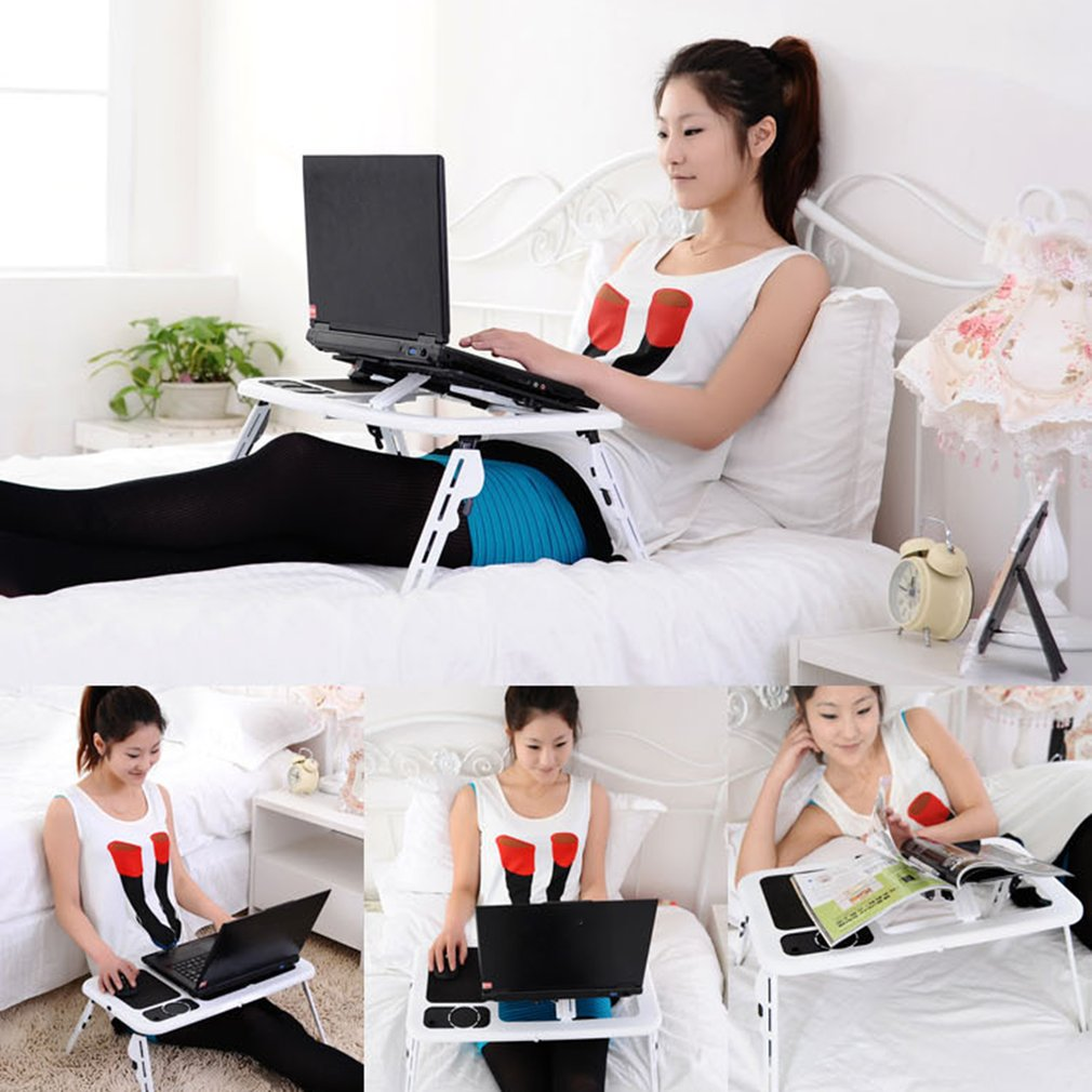 Adjustable Foldable Laptop Table Cooler Bed Tray Stand With Fan Mouse Pad